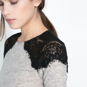 3/$20 Zara Lace Shoulder Long Sleeve Top Size L